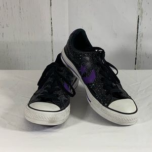Black Sparkle Leather Converse Sz. 8.5
